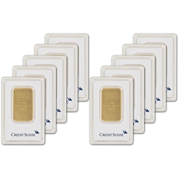 1 oz. Gold Bar - Credit Suisse - 99.99 Fine in Assay - Ten (10) Bars