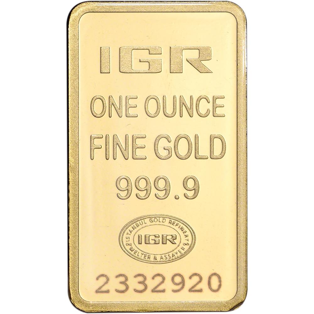 999.9 Fine in Sealed Assay IGR Gold Bar 1 oz Istanbul Gold Refinery