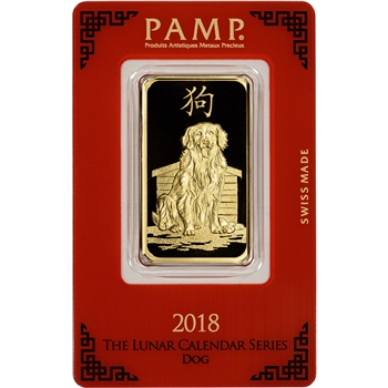 1 oz. Gold Bar - PAMP Suisse - Lunar Year of the Dog - 999.9 Fine in Assay