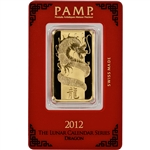 1 oz. Gold Bar - PAMP - Year of the Dragon - 999.9 Fine in Assay