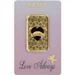 1 oz. Gold Bar - PAMP Suisse - Love Always - 999.9 Fine in Assay
