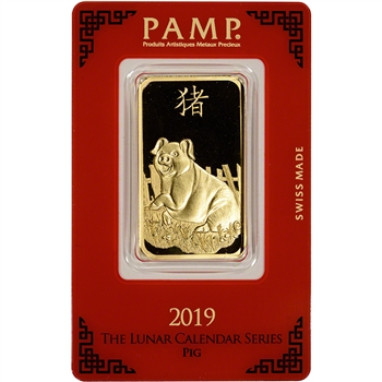1 oz. Gold Bar - PAMP Suisse - Lunar Year of the Pig - 999.9 Fine in Assay