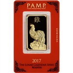 1 oz. Gold Bar - PAMP Suisse - Lunar Year of the Rooster - 999.9 Fine in Assay