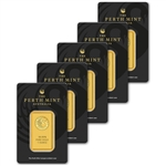 FIVE (5) 1 oz. Gold Bar - Perth Mint - 99.99 Fine in Assay