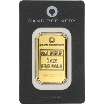 1 oz Gold Bar - Rand Refinery - 999.9 Fine in Assay