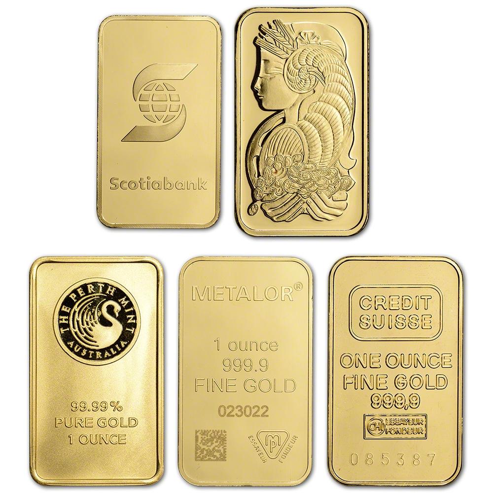 Gold Bar Secondary Market 999.9 Fine 1 oz Random Brand