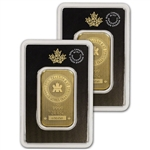 1 oz. Gold Bar - Royal Canadian Mint (RCM) - .9999 Fine in Assay - Two 2 Bars