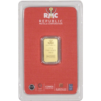 2.5 gram RMC Gold Bar - Republic Metals Corp - 999.9 Fine in Sealed Assay