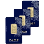 THREE (3) 20 gram Gold Bar - PAMP Suisse - Fortuna - 999.9 Fine in Sealed Assay