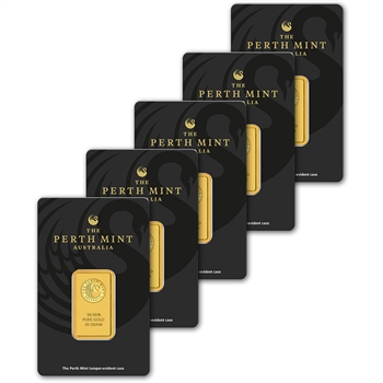 FIVE (5) 20 gram Gold Bar - Perth Mint - 99.99 Fine in Assay
