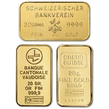 20 gram Gold Bar - Random Brand - Secondary Market - 999.9 Fine