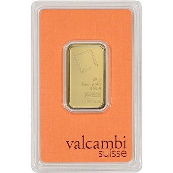 20 gram Gold Bar - Valcambi Suisse - 999.9 Fine in Sealed Assay