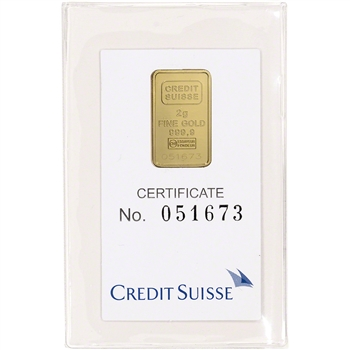 2 gram Gold Bar - Credit Suisse - Statue of Liberty - 999.9 Fine in Sealed Assay