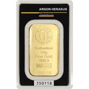 50 gram Gold Bar - Argor Heraeus - 999.9 Fine in Assay
