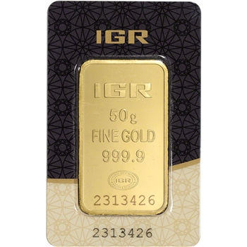 50 gram IGR Gold Bar - Istanbul Gold Refinery - 999.9 Fine in Sealed Assay