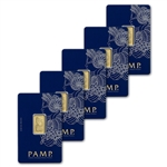 5 gram Gold Bar - PAMP Suisse - Fortuna - 999.9 Fine in Sealed Assay - Five 5 Bars