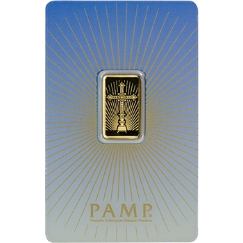 5 gram Gold Bar - PAMP Suisse - Roman Cross - 999.9 Fine in Assay