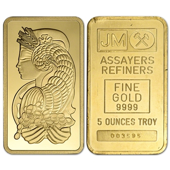 5 oz Gold Bar - Random Brand - Secondary Market - 999.9 Fine