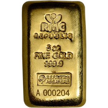 5 oz. RMC Gold Bar - Republic Metals Corp - 999.9 Fine (Cast)