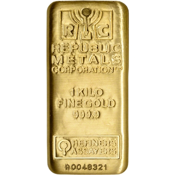 Kilo (32.15 oz.) RMC Gold Bar - Republic Metals Corp - 999.9 Fine with Assay