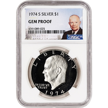 1974-S US Eisenhower Silver Dollar Proof $1 - NGC Gem Proof
