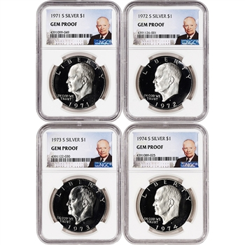 1971-S - 1974-S US Eisenhower Silver Dollar 4-Coin Proof Set $1 - NGC Gem Proof