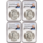 1971-S - 1974-S US Eisenhower Silver Dollar 4-Coin Set $1 - NGC Gem Uncirculated