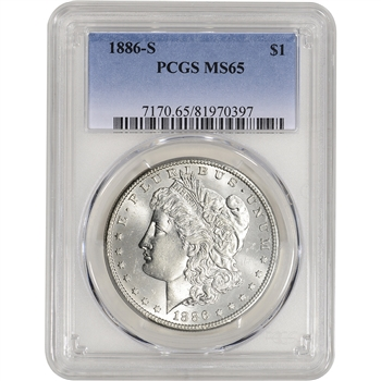 1886-S US Morgan Silver Dollar $1 - PCGS MS65
