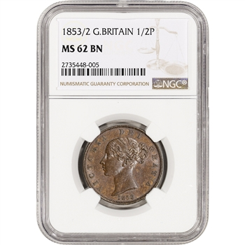 1853/2 Great Britian 1/2 Penny - NGC MS62 BN