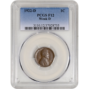 1922-D US Lincoln Wheat Cent 1C - Weak D - PCGS F12