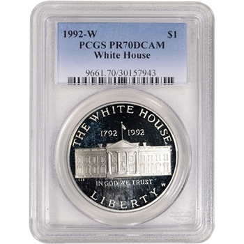 1992 W US White House Commemorative Proof Silver Dollar - PCGS PR70 DCAM