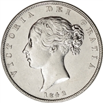 1842 Great Britain Silver Half Crown 1/2C - XF