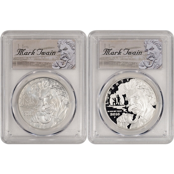 2016 US Mark Twain Commemorative BU & Proof 2-Coin Set - PCGS 69 First Strike