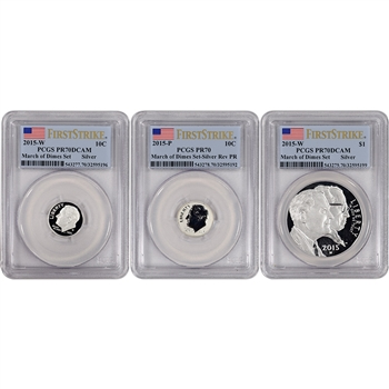 3-pc. 2015 US March of Dimes Commem Proof Silver Set - PCGS PR70 - First Strike