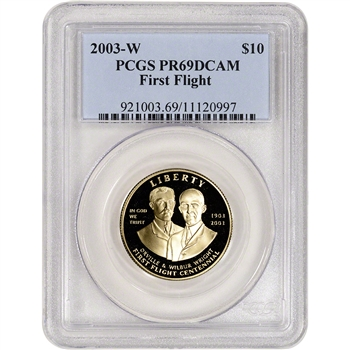 2003-W US Gold $10 First Flight Commemorative Proof - PCGS PR69 DCAM