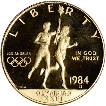 1984-D US Gold $10 Olympic Commemorative Proof - Coin in Capsule