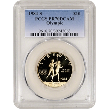 1984 S US Gold $10 Olympic Commemorative Proof - PCGS PR70 DCAM