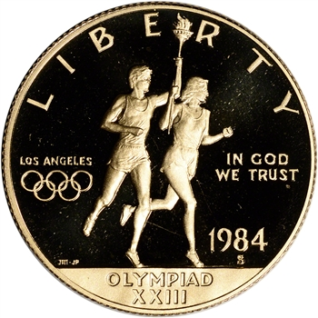 1984-S US Gold $10 Olympic Commemorative Proof - Coin in Capsule