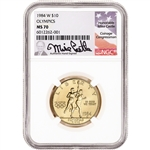 1984 W US Gold $10 Olympic Commemorative BU - NGC MS70 Castle Signed