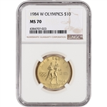 1984-W US Gold $10 Olympic Commemorative BU - NGC MS70