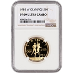 1984-W US Gold $10 Olympic Commemorative Proof - NGC PF69 UCAM