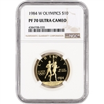 1984-W US Gold $10 Olympic Commemorative Proof - NGC PF70 UCAM