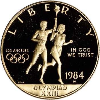1984-W US Gold $10 Olympic Commemorative Proof - Coin in Capsule