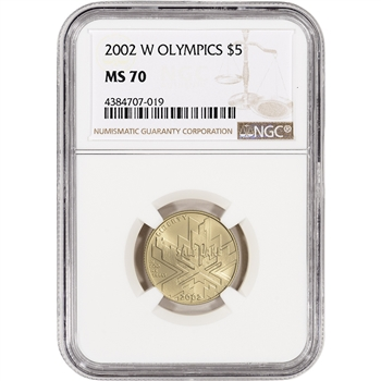 2002-W US Gold $5 Salt Lake City Olympic Commemorative BU - NGC MS70