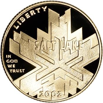 2002-W US Gold $5 Salt Lake City Olympic Commemorative Proof - Coin in Capsule