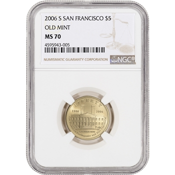2006-S US Gold $5 San Francisco Old Mint Commemorative BU - NGC MS70