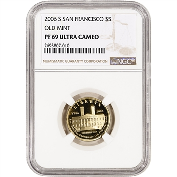 2006-S US Gold $5 San Francisco Old Mint Commemorative Proof - NGC PF69 UCAM