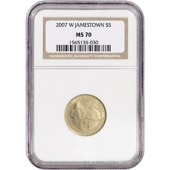 2007-W US Gold $5 Jamestown 400th Anniversary Commemorative BU - NGC MS70