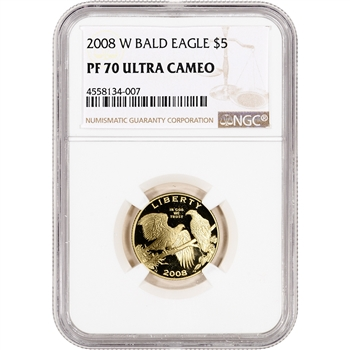 2008-W US Gold $5 Bald Eagle Commemorative Proof - NGC PF70 UCAM