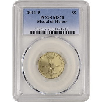 2011-P US Gold $5 Medal of Honor Commemorative BU - PCGS MS70